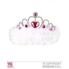 Tiara GIRLS NIGHT OUT con gemme fucsia e marabou bianco