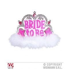 Tiara BRIDE TO BE con GEMME fucsia e MARABOU bianco