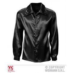 Camicia DISCO ANNI 70 nera in raso