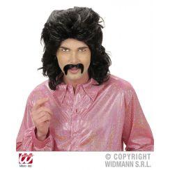 Parrucca e baffi anni 70 nera